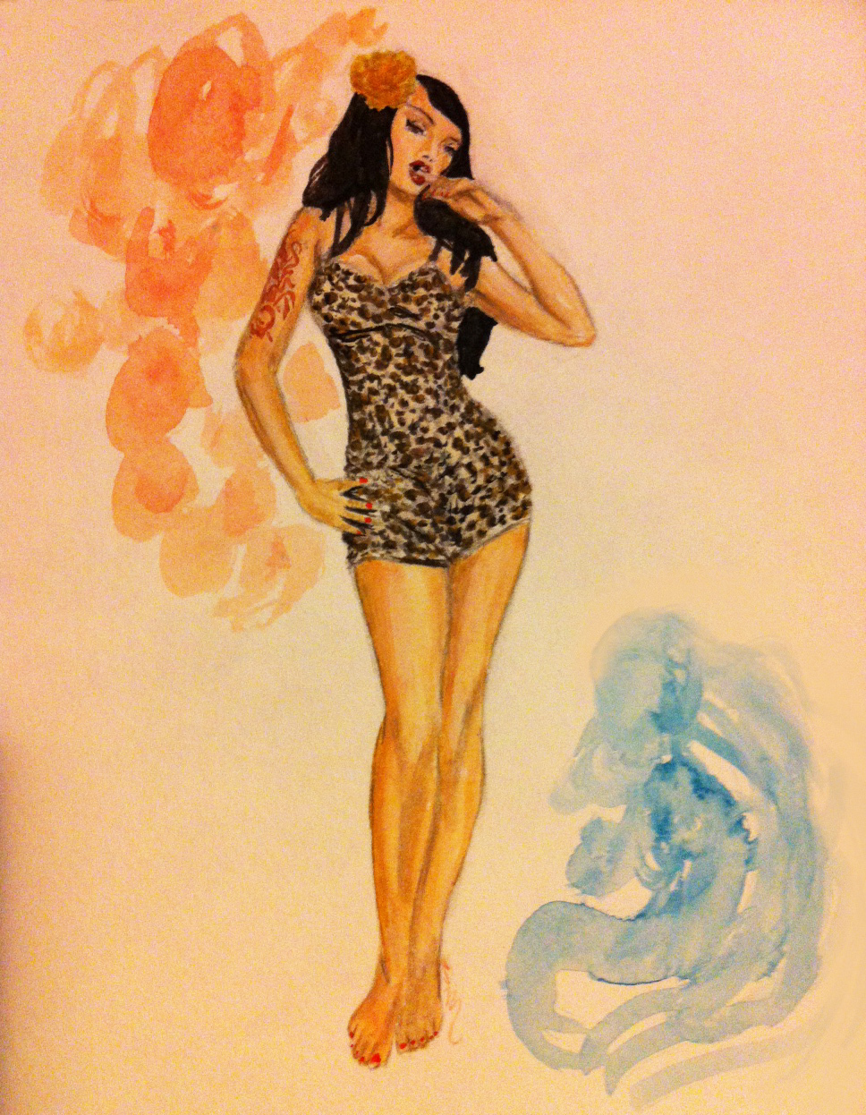 Pinup Girl Clothing Leopard SwimSuit as Modeled by Masuimi Max