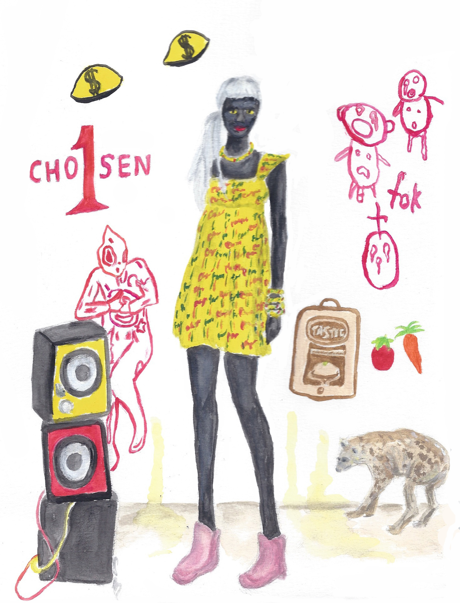 Yellow Dress, Pink Sneaker Boots, Blackface, Worn by Yolandi Visser of Die Antwoord