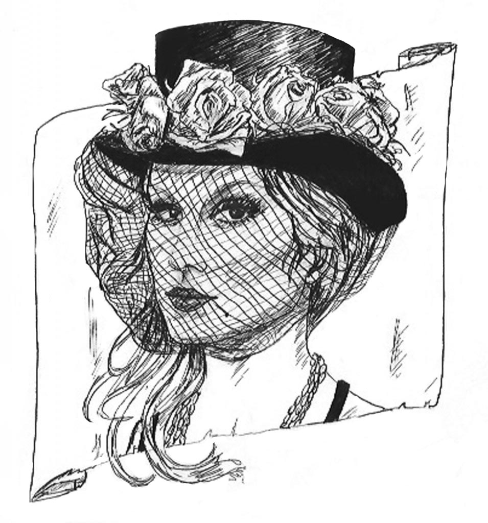 Out of the Inkwell: Top Hat with Roses and Veil (WIP)