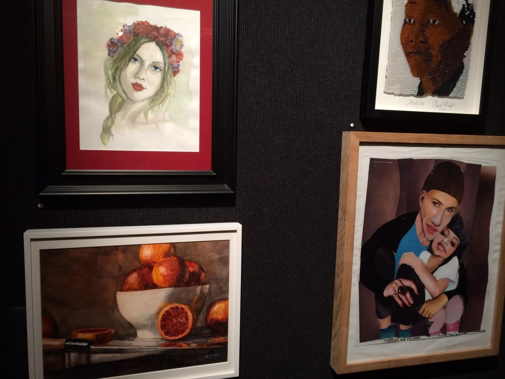 A few of the paintings, including mine (top left)