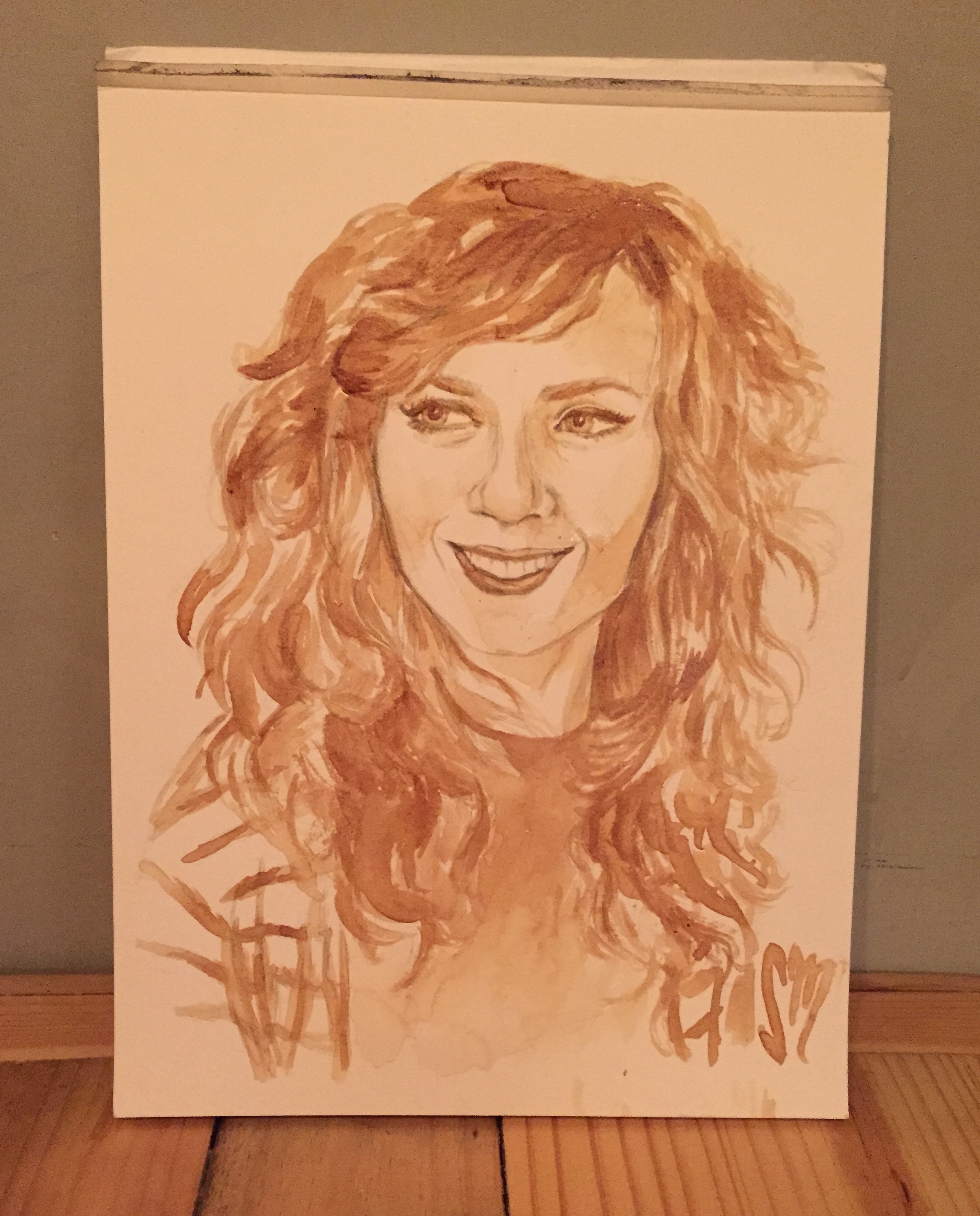 Painting with Coffee (Portrait of Liz Morrow of Delightfully Tacky)